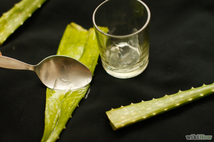 Keep the scooped off gel in a clean container Image source: http://www.wikihow.com/Extract-Aloe-Vera