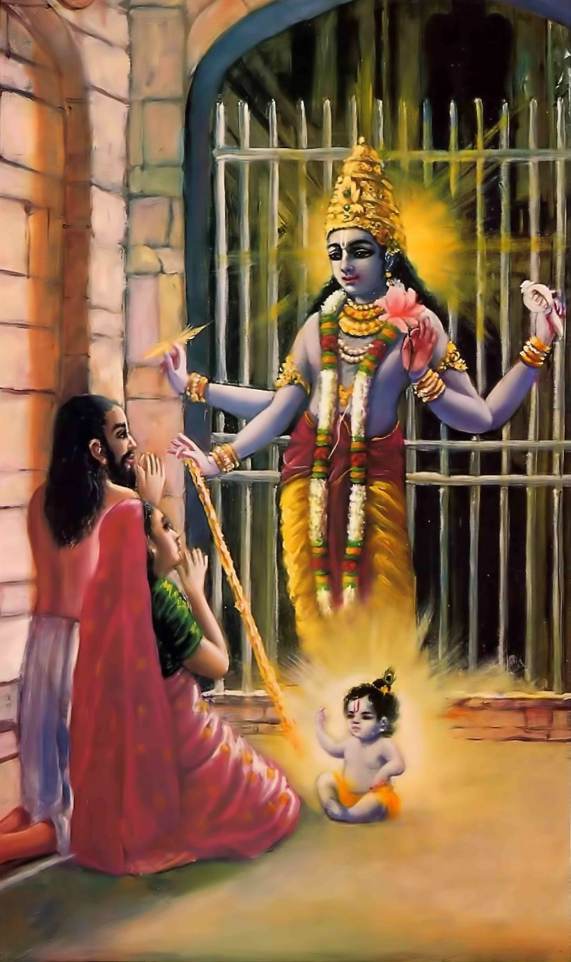 The Lord appears in His full Majesty before His earthly parents Image source: http://www.spiritualawareness.co.in/blog/2014/08/17/krishna-janamashtami/
