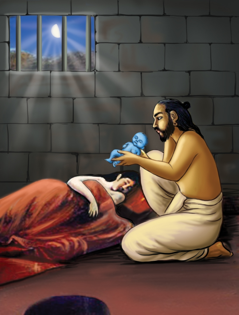 The Lord is born in prison Image source: http://artoflivingsblog.com/wp/wp-content/uploads/2013/08/Krishnas-birth-in-prison.jpg