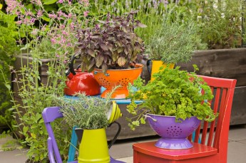 More painted strainers. Look at the clever use of contrasting colours Image source: http://redesignreport.com/diy-upcycled-planters-earth-day/